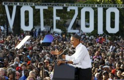 U.S. President Barack Obama speaks at a rally at Vernon Park in Philadelphia