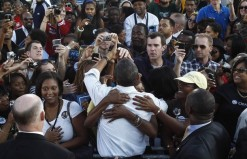 U.S. President Barack Obama greets supporters at a rally at Vernon Park in Philadelphia