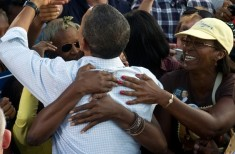 Supporters greet US President Barack Oba