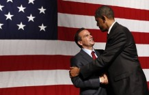 U.S. President Barack Obama shakes hands with Providence Mayor David Cicilline at a DCCC rally in Providence