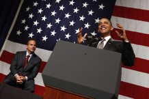 U.S. President Barack Obama speaks at a Democratic Congressional Campaign Committee rally in Providence