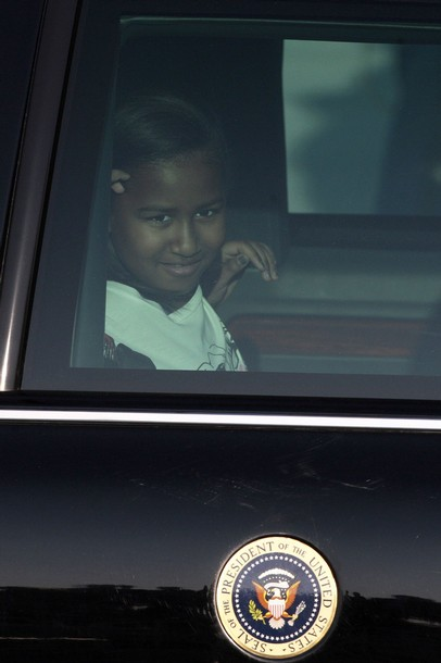 Sasha Obama, youngest daughter of U.S. President Barack Obama, is seen as they depart from Chile in Santiago