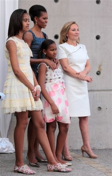 Michelle Obama, Cecili Morell, Sasha Obama, Malia Obama