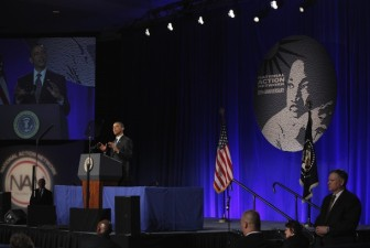 U.S. President Obama speaks at the National Action Network's 20th annual Keepers of the Dream Awards gala in New York