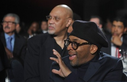 Director Spike Lee greets a fellow guest