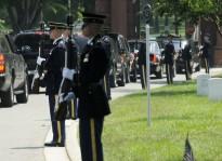 Obama departs in his motorcade after Memorial Day ceremonies at Arlington Cemetery in Arlington