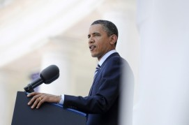 U.S. President Barack Obama speaks during Memorial Day ceremonies at Arlington Cemetery in Arlington