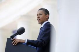 U.S. President Barack Obama speaks during Memorial Day ceremonies at Arlington Cemetery in Arlington