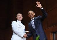 US President Barack Obama poses with new