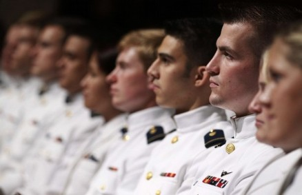 A line of cadets listen to U.S. President Barack Obama at U.S. Coast Guard Academy commencement exercises in Connecticut