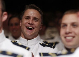 Cadets listen to U.S. President Barack Obama at U.S. Coast Guard Academy commencement exercises in Connecticut
