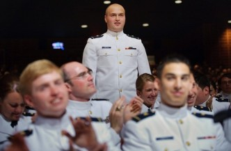 Cadet Ionut Cristea of Romania receives