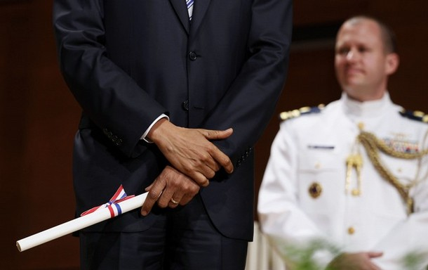 U.S. President Barack Obama holds military commission at U.S. Coast Guard Academy commencement exercises in Connecticut
