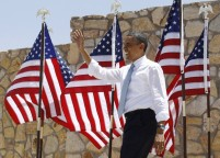U.S. President Obama arrives to deliver remarks on immigration reform at Chamizal National Memorial Park in El Paso