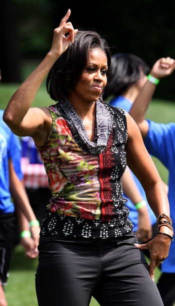 US First Lady Michelle Obama exercises w