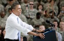 US President Barack Obama addresses troo
