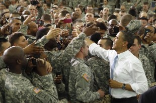 U.S. President Barack Obama greets troops at Fort Campbell in Kentucky