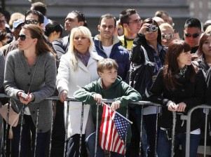 People view the World Trade Center site before the visit of U.S. President Barack Obama to the site in New York
