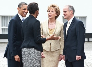 Irish President Mary McAleese (2nd R) an