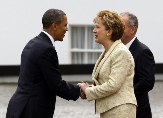 U.S. President Barack Obama meets Irish President Mary McAleese at her official residence in Dublin