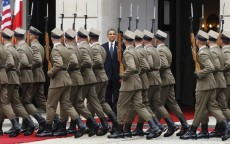 U.S. President Obama takes part in an arrival ceremony at the Presidential Palace in Warsaw