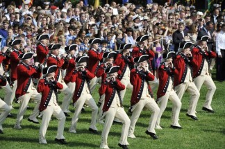 The Fife and Drum Corps perfrom during an official State Arrival ceremony on the South Lawn at the White House in Washington