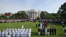U.S. military personnel form up during an official State Arrival ceremony for German Chancelor Merkel on the South Lawn at the White House in Washington