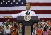 U.S. President Barack Obama participates in a town hall meeting at the University of Maryland in College Park
