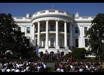 U.S. President Barack Obama honors the 1986 Super Bowl-winning Chicago Bears NFL team on the South Lawn of the White House in Washington