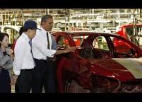 U.S. President Barack Obama and South Korean President Lee Myung-bak tour General Motors Orion Assembly in Detroit, Michigan