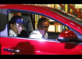 Obama and South Korean President Lee visit a GM assembly plant in Detroit