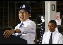 South Korean President Lee Myung-bak laughs during remarks in Detroit