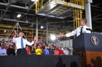 US President Barack Obama(R) gestures to