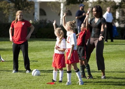 "U.S. First Lady Michelle Obama hosts a ""Let's Move!"" clinic with members of the U.S. women's soccer team at the White House"