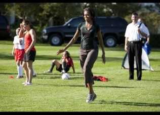 "U.S. First Lady Obama hosts a ""Let's Move!"" clinic with members of U.S. women's soccer team at the White House"
