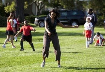 "U.S. First Lady Obama hosts ""Let's Move!"" clinic with members of U.S. women's soccer team at the White House"