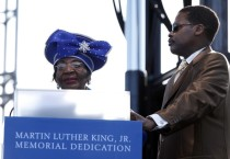 Dr. Christine King Farris speaks during the Martin Luther King, Jr. memorial dedication at the National Mall in Washington