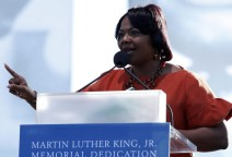 Elder Bernice King speaks at the Martin Luther King, Jr. memorial dedication on the National Mall in Washington