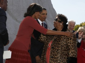 Singer Aretha Franklin and U.S. President Obama with first lady in Washington