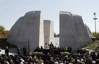 President Barack Obama speaks at a dedication ceremony of the Martin Luther King, Jr. National Memorial in Washington