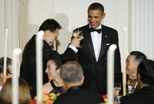 U.S. President Obama toasts South Korean President Lee at a state dinner in Lee's honor at the White House
