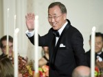 United Nations Secretary General Ban is recognized at a state dinner in South Korean President Lee's honor at the White House