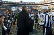 US President Barack Obama stands at midf
