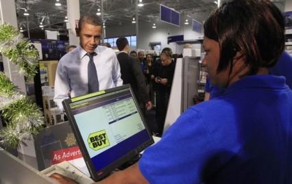 U.S. President Barack Obama shops at Best Buy in Alexandria, Virginia