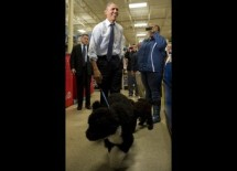US President Barack Obama (C) walks with