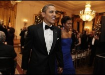 President Barack Obama and first lady Michelle Obama leave after the Kennedy Center Honors reception