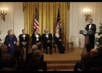 President Barack Obama delivers remarks at the Kennedy Center Honors Reception in Washington