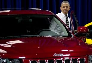 US President Barack Obama gets inside a