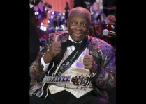 "Blues legend B.B. King signals approval while performing as part of the ""In Performance at the White House"" series, in Washington"