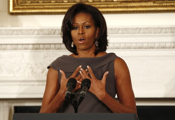 Michelle Obama speaks at the National Governors Association in the State Dining Room of the White House in Washington